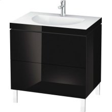 Furniture Washbasin C-bonded With Vanity Floorstanding, Black High Gloss Lacquer