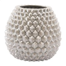 Pinecone Short Vase Antique Silver