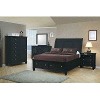 Sandy Beach Black Queen Sleigh Bed With Footboard Storage Product Image