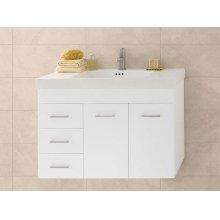 "Bella 36"" Wall Mount Bathroom Vanity Base Cabinet in White - Doors on Right"