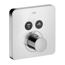 Chrome Thermostat for concealed installation softcube for 2 functions