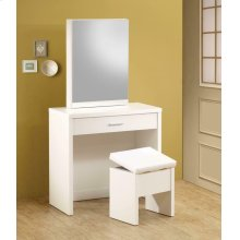 Contemporary White Vanity and Upholstered Stool Set