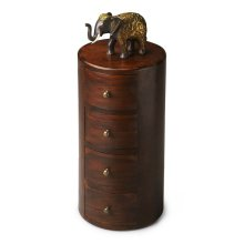 This storage pedestal is perfect for filling that neglected corner or other spot in your room. Individually handcrafted from solid sheesham wood, it features a provincial brown finish, antique-brass finished hardware and four drawers for convenient storag