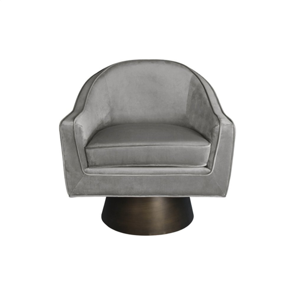 Modern Swivel Chair With Bronze Base In Grey Velvet