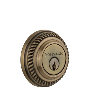 Nostalgic - Double Cylinder Deadbolt Keyed Differently - Rope in Antique Brass Product Image