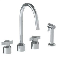 Deck Mounted 4 Hole Kitchen Set With Gooseneck Spout - Includes Side Spray