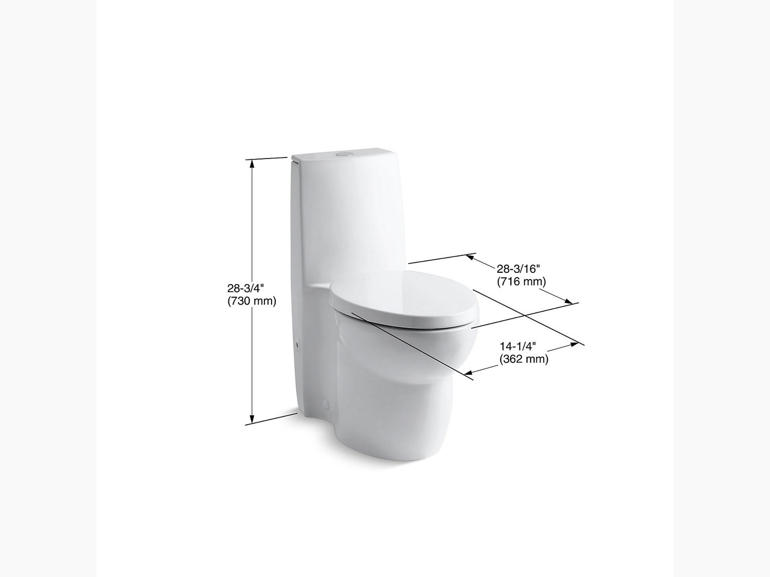 Additional White Skirted One-piece Elongated Dual-flush Toilet With Top Actuator and Saile Quiet-close Toilet Seat With Quick-release Functionality