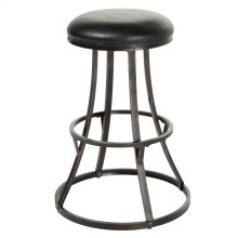 Dover Backless Swivel Seat Bar Stool with Blackened Bronze Finished Metal Frame and Black Faux Leather Upholstery, 30-Inch Seat Height