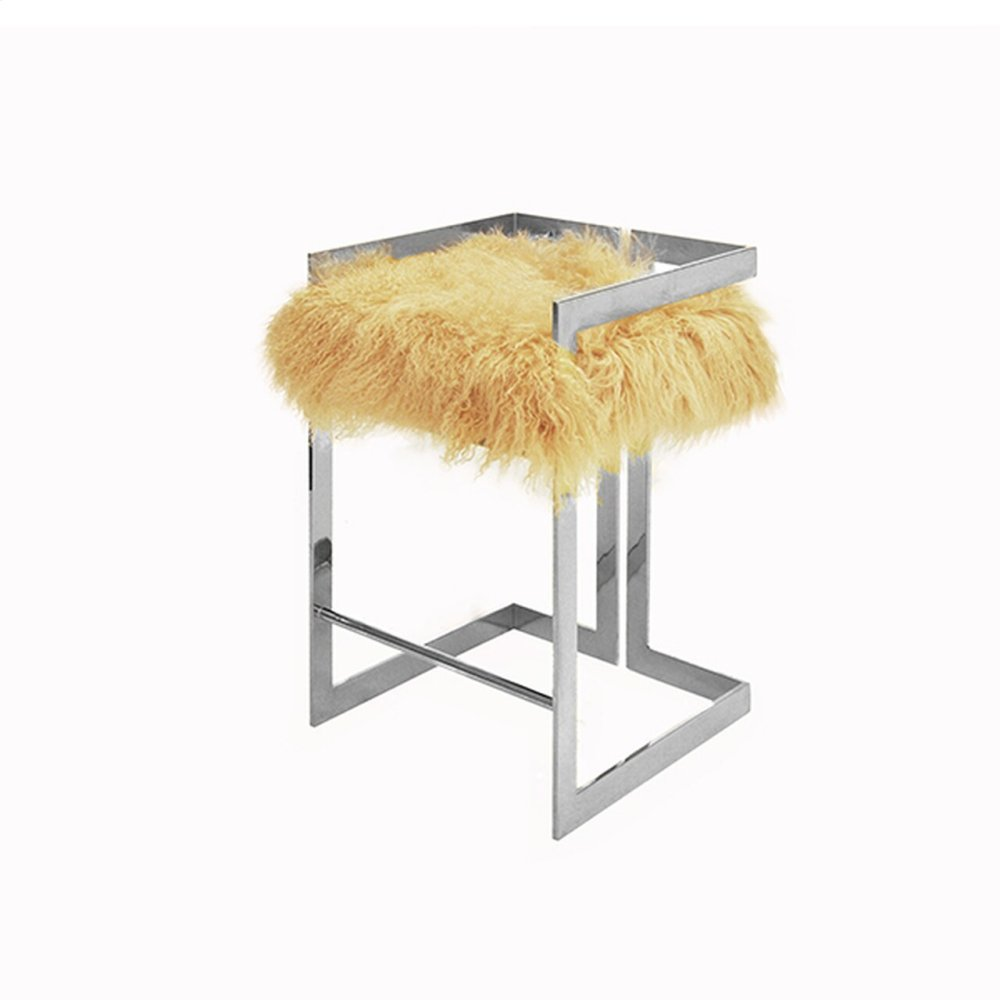 """Counter Height Nickel Stool With Natural Mongolian Fur Cushion - Seat Height 27"""""""