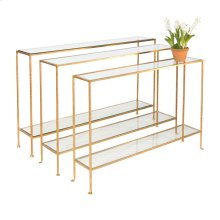 Small Hammered Gold Leaf Console With Clear Glass Shelves.