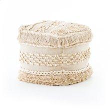 Braided Fringe Pouf-cream