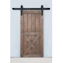 5' Barn Door Flat Track Hardware - Smooth Iron Round Style