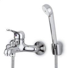Exposed single lever bath-shower mixer with antisplash diverter handshower Z9354P.C spray support 1500mm flexible hose.