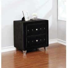 Deanna Contemporary Black and Metallic Nightstand