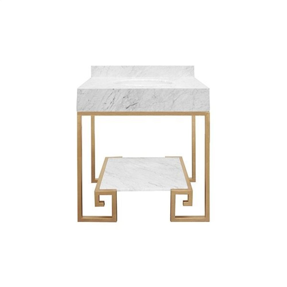 """Greek Key Gold Leaf Base Bath Vanity With White Carrara Marble Top and Shelf - White Porcelain Sink Included - Optional White Carrara Marble Backsplash - for Use With 8"""" Widespread Faucet (not Included)"""