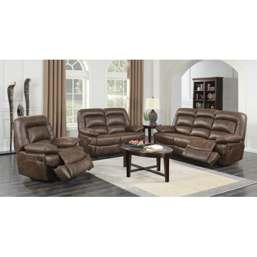 Levi Brown Leather Gel Sofa and Loveseat Set