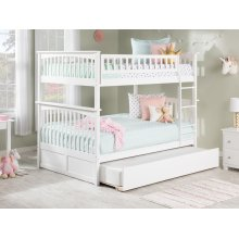 Columbia Bunk Bed Full over Full with Urban Trundle Bed in White