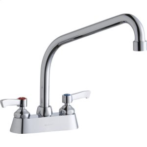 """Elkay 4"""" Centerset with Exposed Deck Faucet with 10"""" High Arc Spout 2"""" Lever Handles Chrome Product Image"""