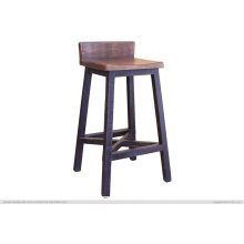"30"" Stool - with wooden seat & base- Black finish"