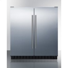 Frost-free Side-by-side Refrigerator-freezer for Built-in or Freestanding Use With Black Cabinet, Stainless Steel Doors, and Digital Controls