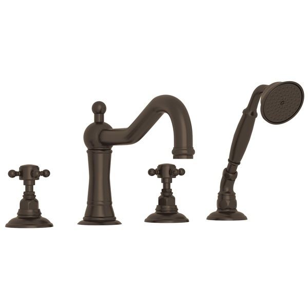 Tuscan Brass Acqui 4-Hole Deck Mount Column Spout Tub Filler With Handshower with Cross Handle