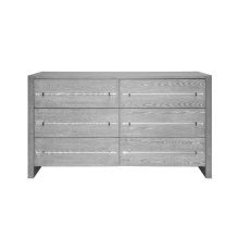 Six Drawer Chest With Acrylic Hardware In Grey Cerused Oak