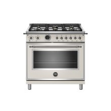 36 inch Dual Fuel Range, 6 Brass Burner, Electric Self-Clean Oven Avorio