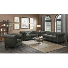 Roy Traditional Grey Three-piece Living Room Set