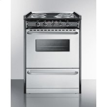 "Slide-in Electric Range In Slim 24"" Width With Stainless Steel Doors and Black Porcelain Top; Replaces Tem630r"