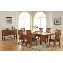 "7PC SET (96"" Trestle Table with 6 Raised Slat Back Chairs)"