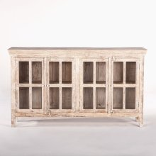 "Coral Gables 72"" Glass Cabinet Whitewash"