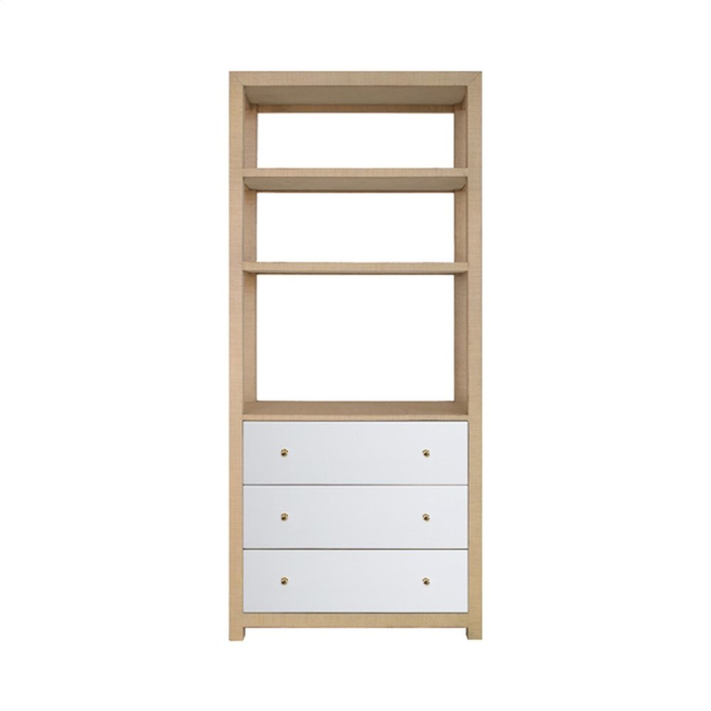 Three Drawer Etagere In Natural Grasscloth With Matte White Lacquer Drawers and Brass Hardware