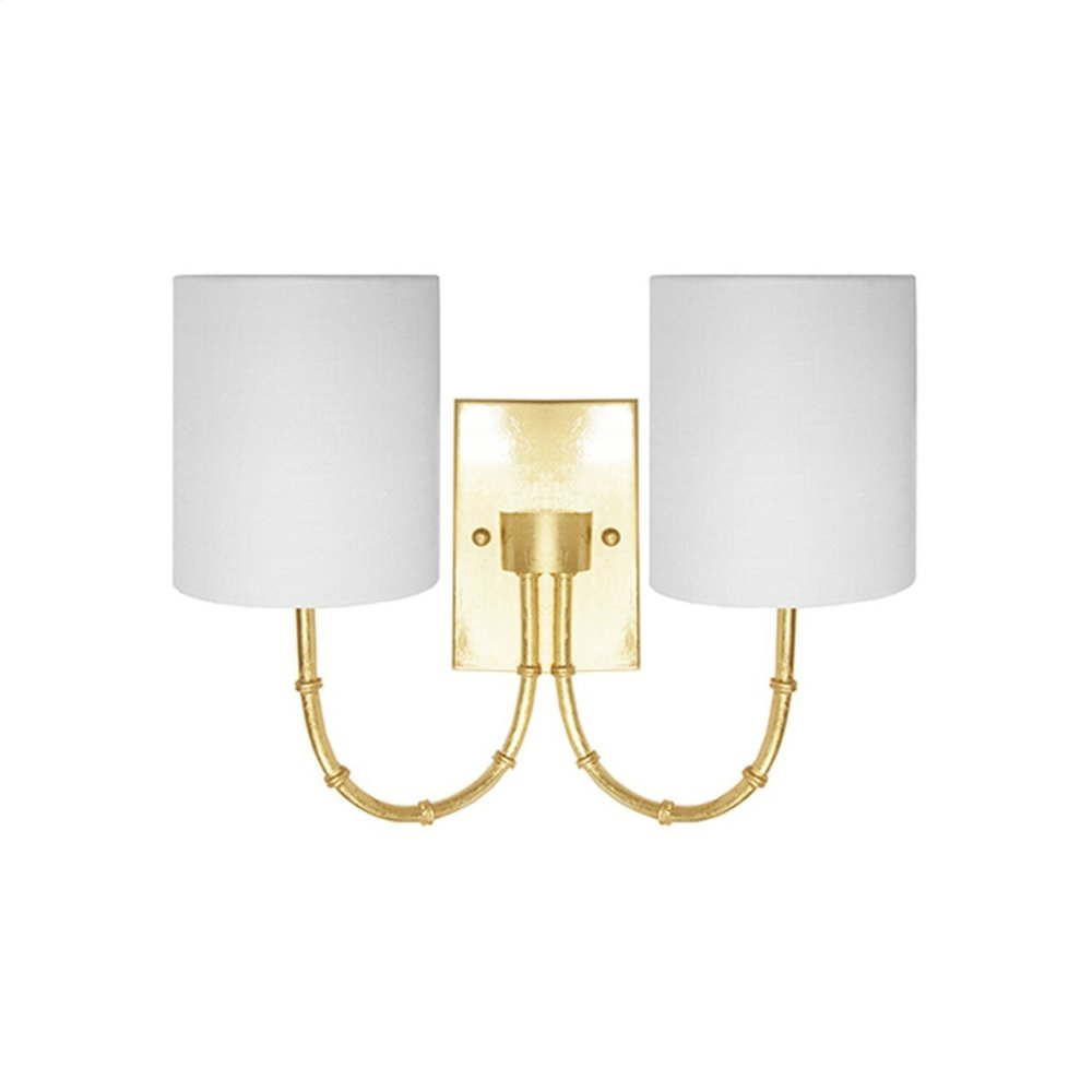 """Two Arm Bamboo Sconce With White Linen Shade In Gold Leaf - Uses (2) E12 Candelabra Base 40 Watt Bulbs - Backplate 6"""" H X 4"""" W X .75"""" D"""
