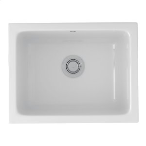 White Allia Fireclay Single Bowl Undermount Kitchen Or Laundry Sink Product Image