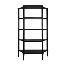 Four Tier Etagere In Matte Black Lacquer