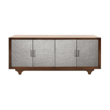 Four Door Cabinet With Silver Hammered Texture Doors One Adjustable/removable Shelf On Both Sides (2 Total)