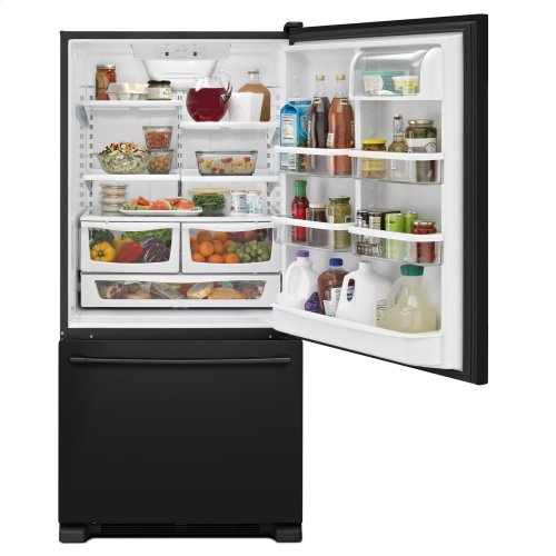 30-Inch Wide Bottom Mount Refrigerator - 19 Cu. Ft. Black