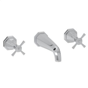 """Polished Chrome Perrin & Rowe Deco 3-Hole Wall Mount 7"""" Spout Tub Filler Product Image"""