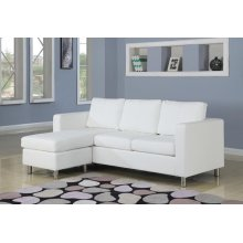 WHITE PU REV. CHAISE SECTIONAL