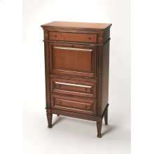 Selected solid woods, wood products and choice veneers. Cherry veneer top, sides, drawer fronts and front panel of drop front. Writing surface on reverse side of drop front is cherry veneer. This lovely secertary features decorative inlays of maple and wa
