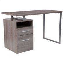 Light Ash Wood Grain Finish Computer Desk with Two Drawers and Silver Metal Frame