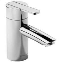 "Matt Black Chrome Single lever lavatory mixer with pop-up waste, 5"" spout length"