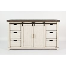 """Madison County 60"""" Barn Door Console - Vintage White"""