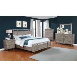 The Johnathan Bedroom Industrial Shell and Chrome Eastern King Four-piece Set