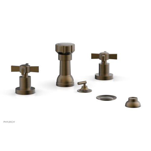BASIC Four Hole Bidet Set - Blade Cross Handles D4137 - Old English Brass