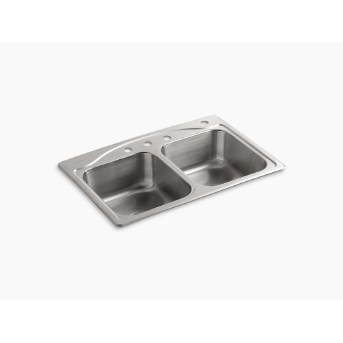 "33"" X 22"" X 8-5/16"" Top-mount Double-equal Kitchen Sink With 4 Faucet Holes"
