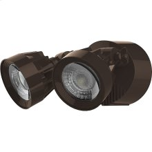 24W LED Dual Head Security Light Fixture - Bronze Finish