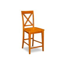 Lexi Pub Chairs Set of 2 with Wood Seat in Caramel Latte