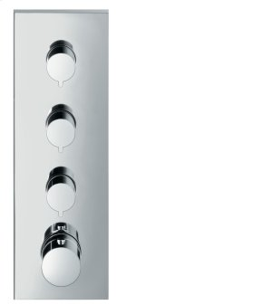Chrome Thermostatic module 360/120 for concealed installation square for 3 functions Product Image