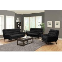 Natalia Mid-century Modern Black Three-piece Living Room Set Product Image